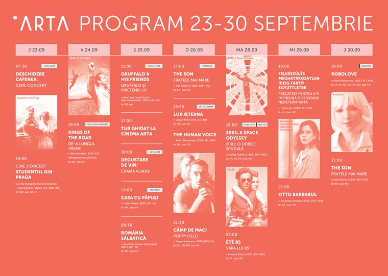 Program Cinematograful ARTA - Septembrie 2021