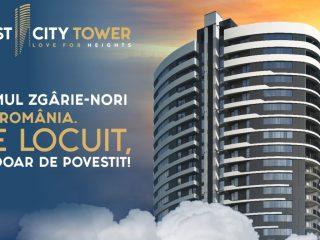 West City Tower privește cu mândrie spre vest. De la înălțimea celor 25 de etaje ale celui mai înalt bloc de locuințe din România
