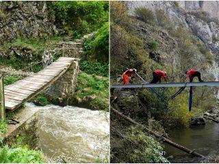 Podurile din Cheile Turzii au fost complet reabilitate | Premieră: utilizarea unui elicopter