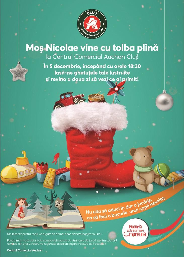 Moș Nicolae sosește cu tolba plină în Centrul Comercial Auchan Cluj