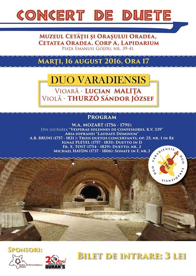 Recital de duete în Lapidarium, Muzeul Cetății și Orașului Oradea