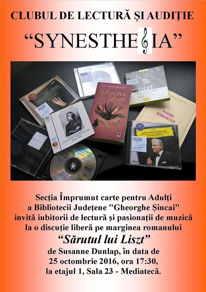 """Club de lectură: Sărutul lui Liszt, Biblioteca Județeană """"Gheorghe Șincai"""""""