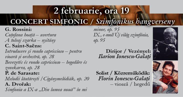 Concert simfonic: Rossini, Saint-Saëns, P. de Sarasate și Dvořak