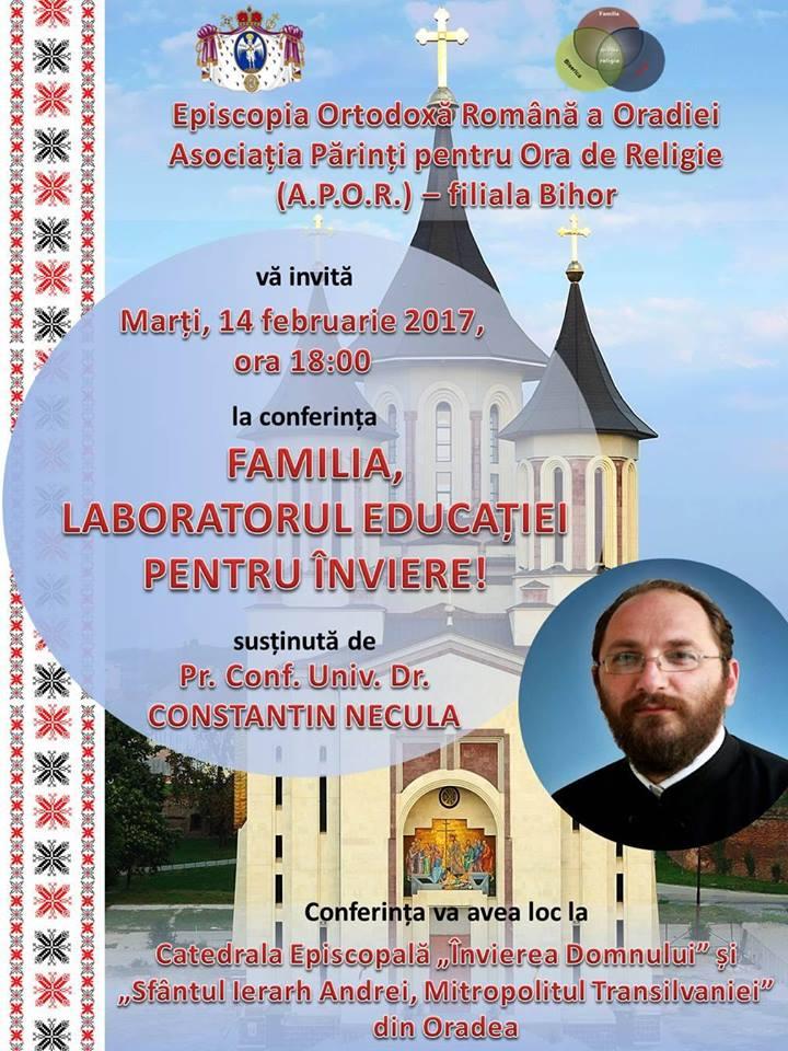 Marți, 14 februarie 2017, începând cu ora 18:00, va avea loc o conferință susținută de Părintele Constantin Necula. Această...