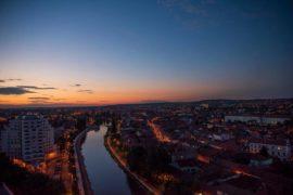 Panoramă de noapte din Turnul Primăriei Oradea